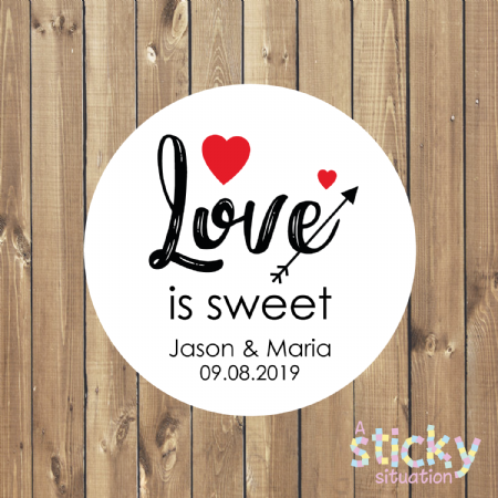 Personalised 'Love is Sweet' Wedding Favour Stickers